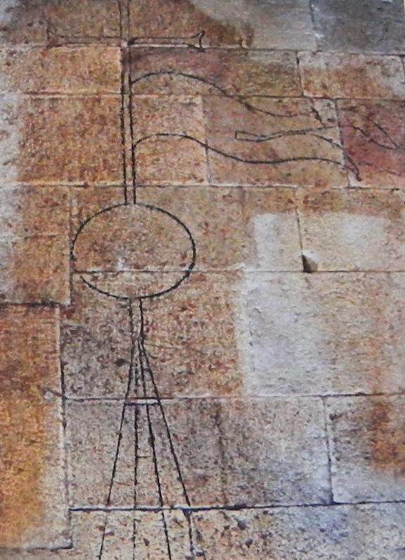 """il progetto del campanile inciso sulle """"schiasse"""" della navata destra"""