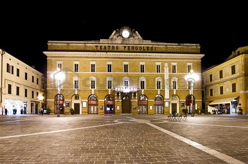 Theater Pergolesi, Night Landscape, Jesi, Ancona, Marche, Italy, Europe