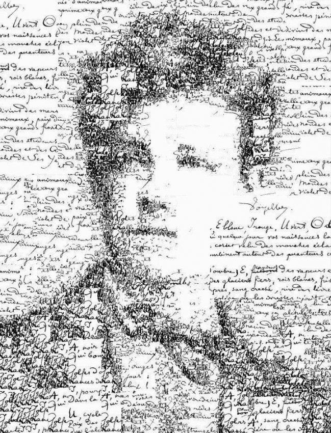 Manoscritto e autoritratto di Arthur Rimbaud