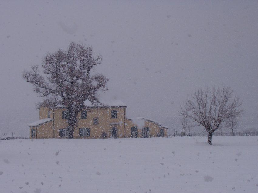 il prato e la casa dietro la scuola sotto la neve
